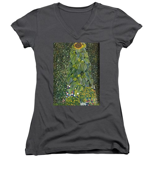 The Sunflower Women's V-Neck T-Shirt (Junior Cut) by Klimt
