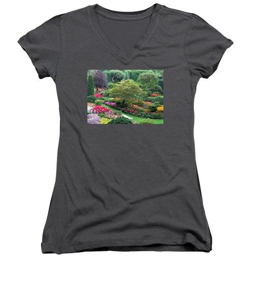 The Sunken Garden At Dusk Women's V-Neck T-Shirt (Junior Cut) by Betty Buller Whitehead