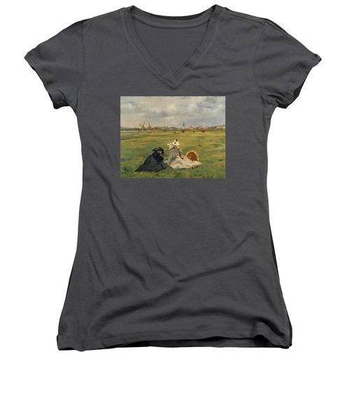 The Swallows Women's V-Neck T-Shirt (Junior Cut) by Edouard Manet