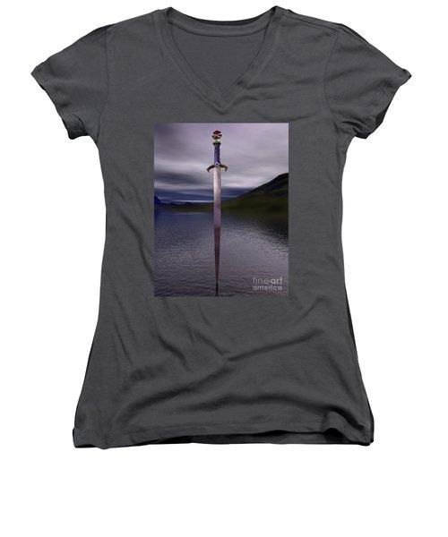 The Sword Excalibur On The Lake Women's V-Neck T-Shirt (Junior Cut)