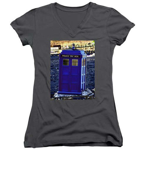 The Tardis Women's V-Neck T-Shirt (Junior Cut) by Steve Purnell