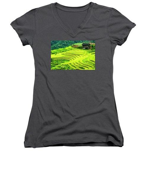 The Terraced Fields Scenery In Autumn Women's V-Neck