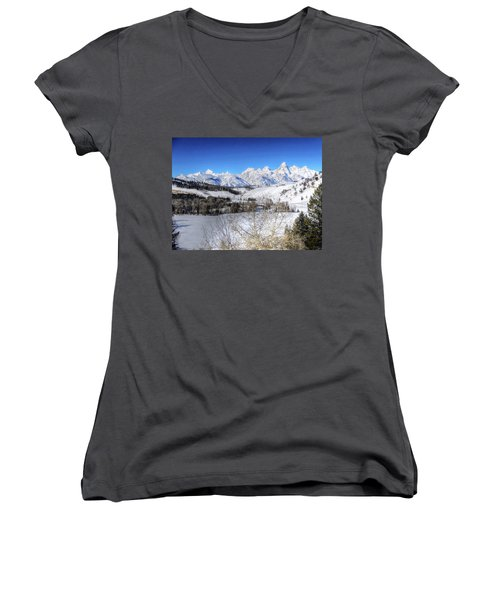 The Tetons From Gros Ventre Valley Women's V-Neck