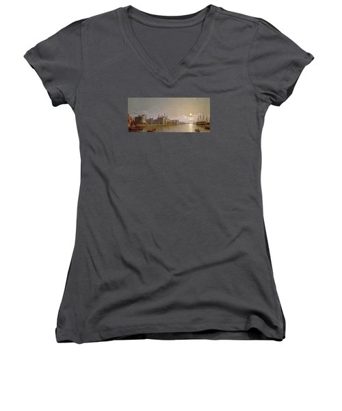 The Thames By Moonlight With Traitors' Gate And The Tower Of London Women's V-Neck T-Shirt (Junior Cut) by Henry Pether