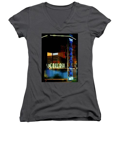 The Thaxton Speakeasy Women's V-Neck T-Shirt (Junior Cut) by Kelly Awad