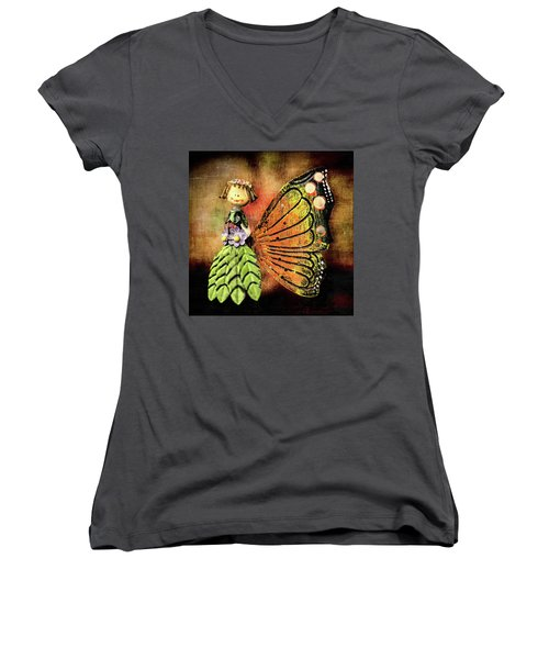 Women's V-Neck T-Shirt featuring the photograph The Thing by Lewis Mann