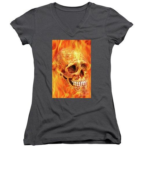Flaming Skull Women's V-Neck T-Shirt