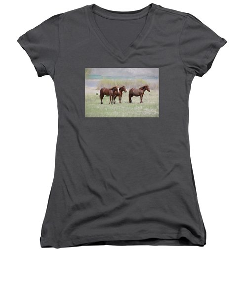 Women's V-Neck T-Shirt (Junior Cut) featuring the photograph The Three Amigos by Benanne Stiens