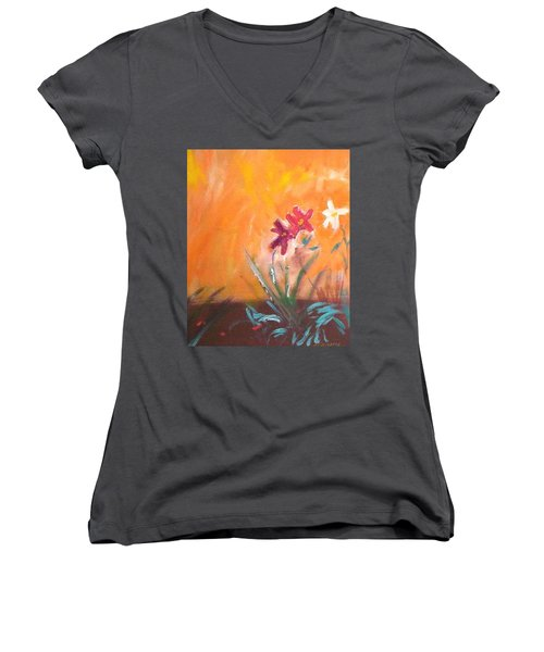 Women's V-Neck T-Shirt (Junior Cut) featuring the painting The Three Daisies by Winsome Gunning