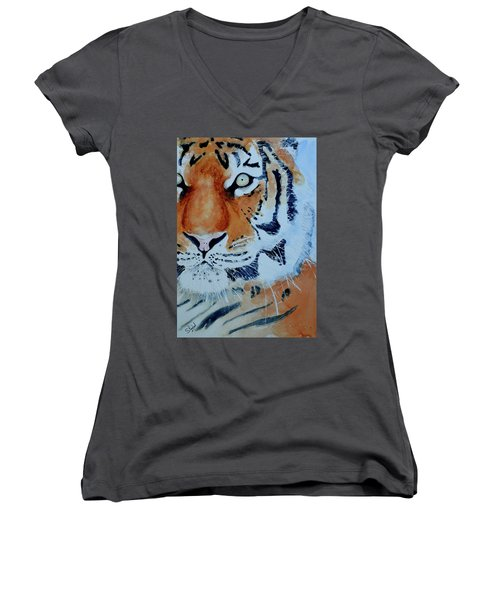 The Tiger Women's V-Neck T-Shirt (Junior Cut) by Steven Ponsford