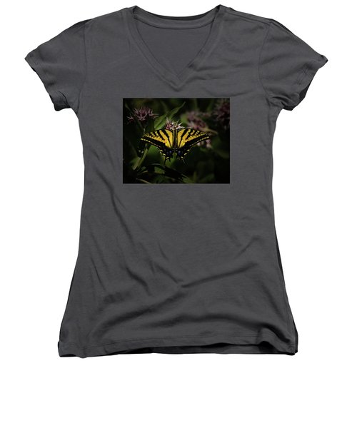 The Tiger Swallowtail Women's V-Neck T-Shirt (Junior Cut) by Ernie Echols