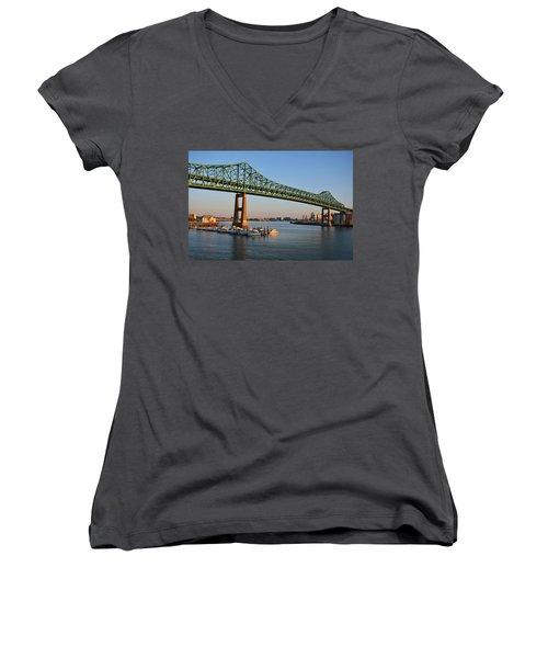 The Tobin Bridge Into The Sunset Chelsea Yacht Club Women's V-Neck