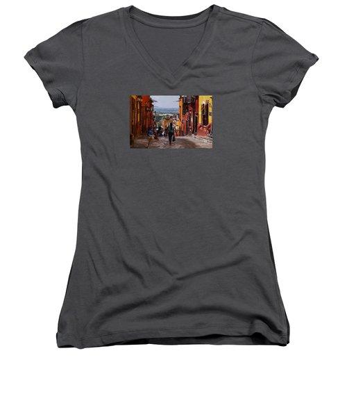 Women's V-Neck T-Shirt (Junior Cut) featuring the photograph The Top Of Calle Umaran by John  Kolenberg