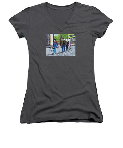 The Tourist Women's V-Neck T-Shirt (Junior Cut) by Reb Frost