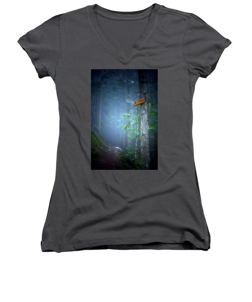 Women's V-Neck T-Shirt (Junior Cut) featuring the photograph The Trail by Tara Turner