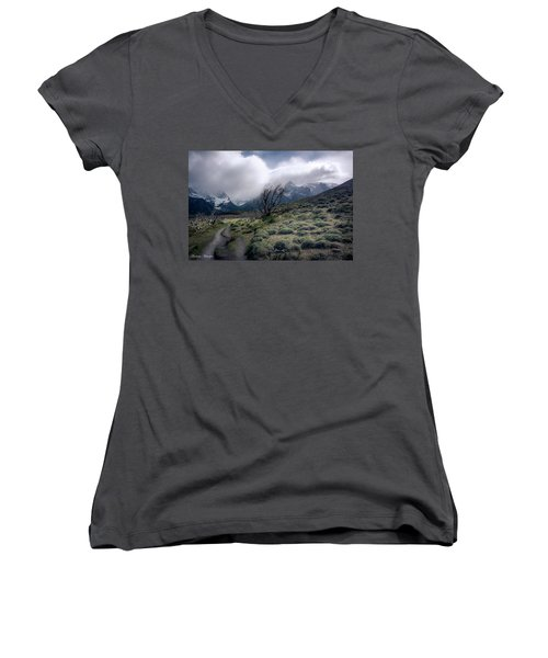 Women's V-Neck T-Shirt (Junior Cut) featuring the photograph The Tree In The Wind by Andrew Matwijec