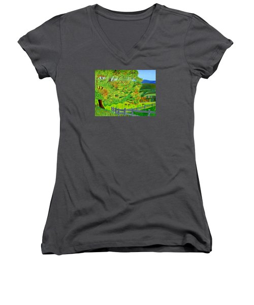 Women's V-Neck T-Shirt (Junior Cut) featuring the painting The Tree Of Joy by Magdalena Frohnsdorff