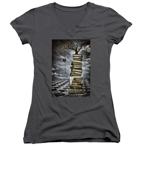 The Tree Of Love Women's V-Neck T-Shirt (Junior Cut) by Mihaela Pater