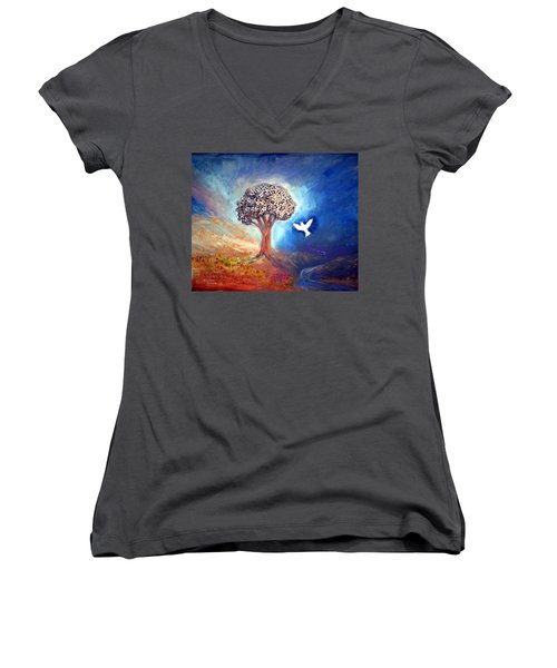 The Tree Women's V-Neck T-Shirt (Junior Cut) by Winsome Gunning