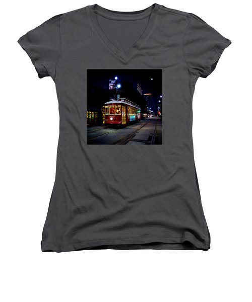 Women's V-Neck T-Shirt (Junior Cut) featuring the photograph The Trolley by Evgeny Vasenev