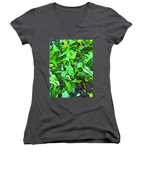 The Tropical Green Leaves With The Wings Women's V-Neck (Athletic Fit)
