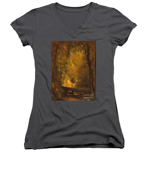 Women's V-Neck T-Shirt (Junior Cut) featuring the photograph The Trout Pool by John Stephens