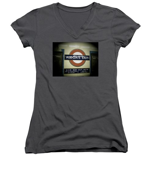 Women's V-Neck T-Shirt (Junior Cut) featuring the photograph The Tube Aldgate East by Christin Brodie