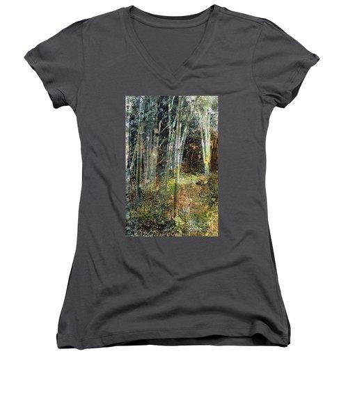 The Underbrush Women's V-Neck T-Shirt (Junior Cut) by Frances Marino
