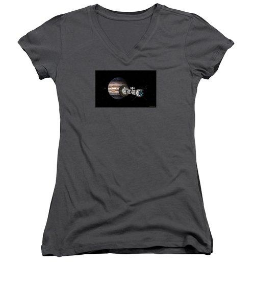 Women's V-Neck T-Shirt (Junior Cut) featuring the digital art The Uss Savannah Nearing Jupiter by David Robinson