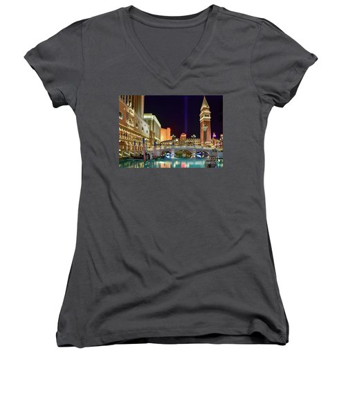 The Venetian Gondolas At Night Women's V-Neck