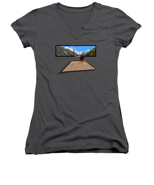 Women's V-Neck T-Shirt (Junior Cut) featuring the photograph The View by Shane Bechler