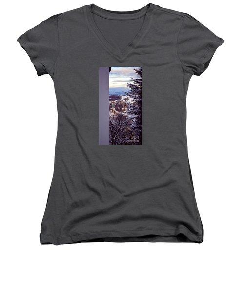 Women's V-Neck T-Shirt (Junior Cut) featuring the photograph The Village - Winter In Switzerland by Susanne Van Hulst