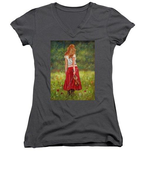 The Violinist Women's V-Neck T-Shirt (Junior Cut) by David Stribbling