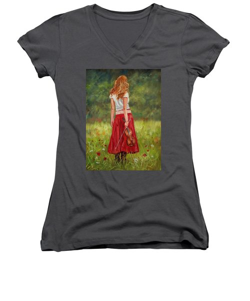 The Violinist Women's V-Neck T-Shirt