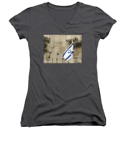The Wailing Wall And The Flag Women's V-Neck T-Shirt (Junior Cut) by Yoel Koskas