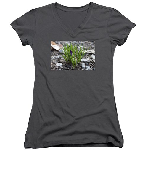 Women's V-Neck T-Shirt (Junior Cut) featuring the photograph The Wait by Jeff Severson