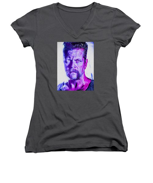 The Walking Dead Michael Cudlitz Sgt. Abraham Ford Painted Women's V-Neck T-Shirt (Junior Cut) by David Haskett