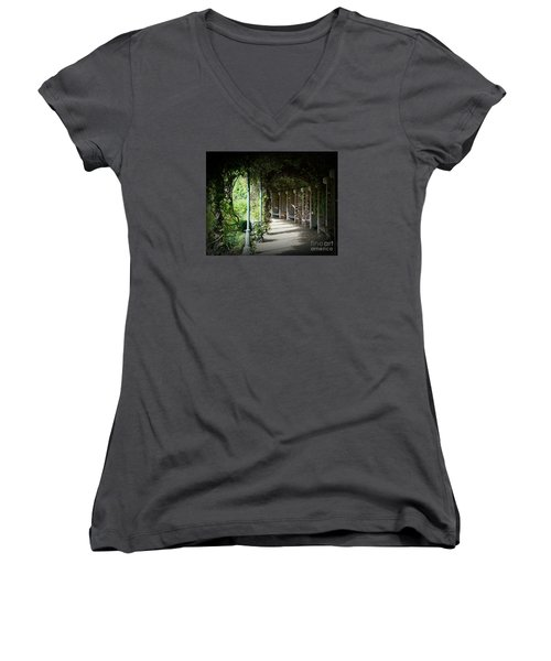 Women's V-Neck T-Shirt (Junior Cut) featuring the photograph The Walkway by Lisa L Silva