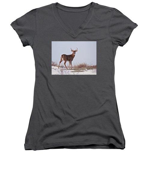 The Watchful Deer Women's V-Neck T-Shirt (Junior Cut) by Nancy De Flon