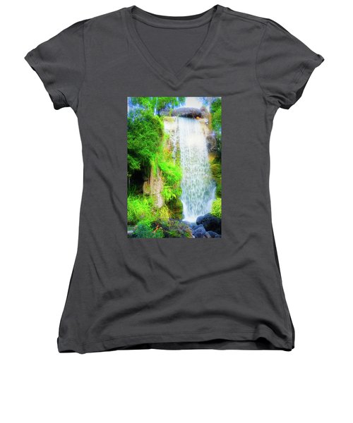 The Water Falls Women's V-Neck T-Shirt (Junior Cut)