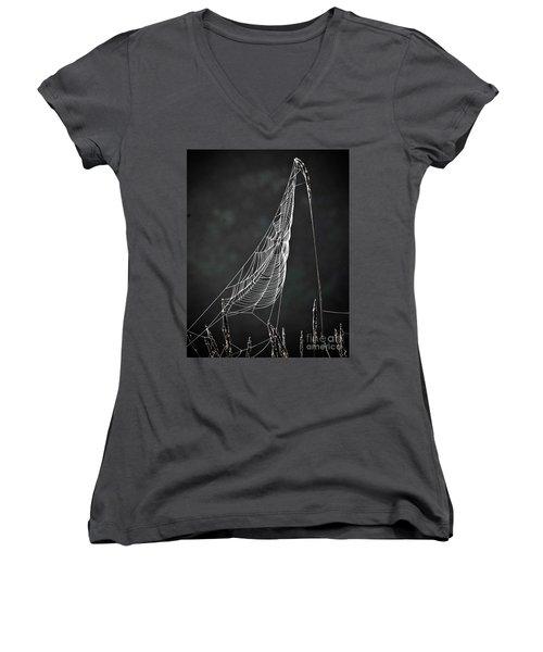The Web Women's V-Neck T-Shirt (Junior Cut) by Tom Cameron