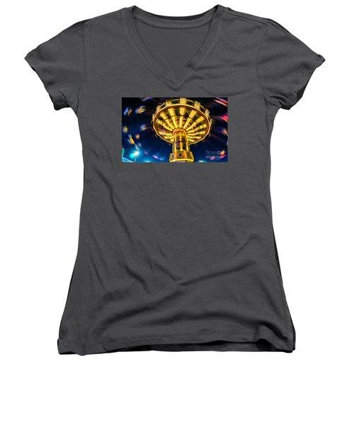 The Wheel Women's V-Neck T-Shirt (Junior Cut) by David Smith