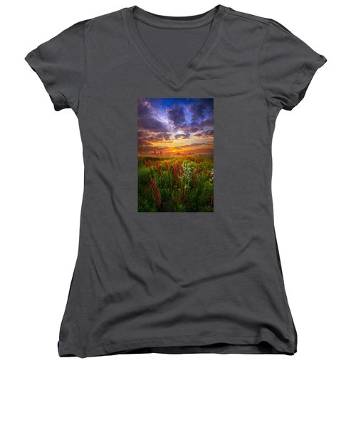 The Whispered Voice Within Women's V-Neck T-Shirt (Junior Cut) by Phil Koch