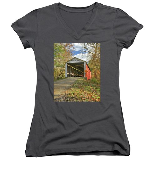 Women's V-Neck T-Shirt (Junior Cut) featuring the photograph The Wilkins Mill Covered Bridge by Harold Rau