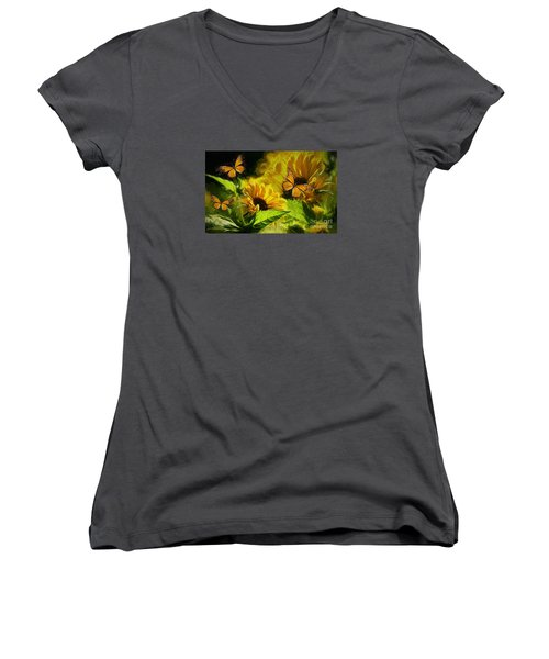 The Wings Of Transformation Women's V-Neck T-Shirt (Junior Cut) by Tina  LeCour