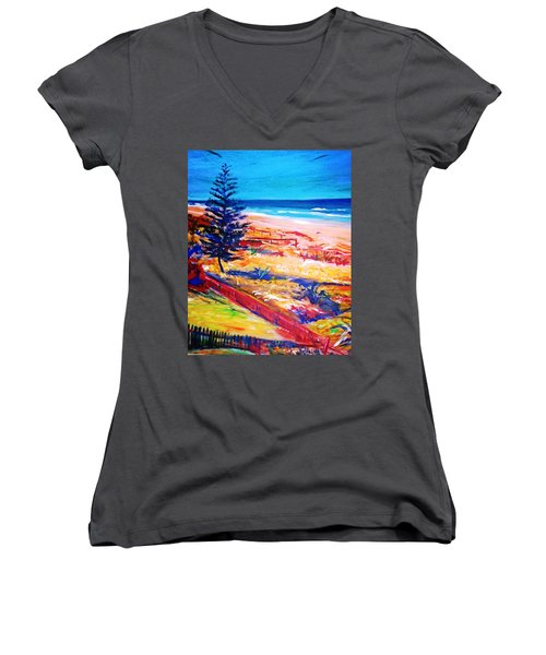 Women's V-Neck T-Shirt (Junior Cut) featuring the painting The Winter Dunes by Winsome Gunning