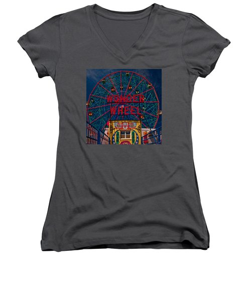 The Wonder Wheel At Luna Park Women's V-Neck T-Shirt