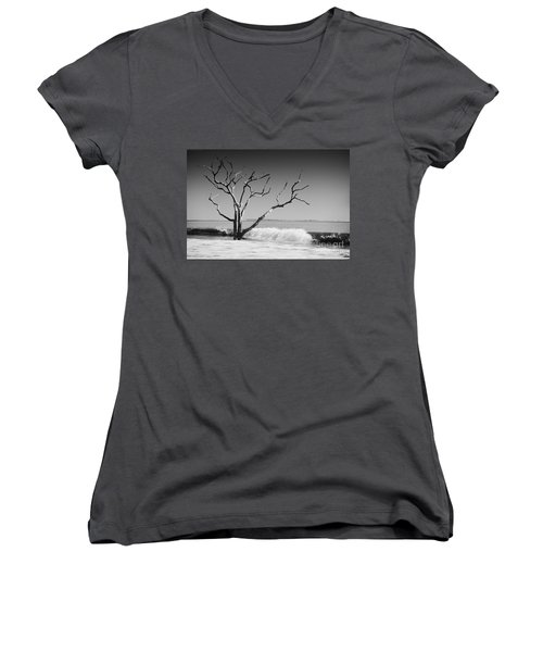 Women's V-Neck T-Shirt (Junior Cut) featuring the photograph The World Is Coming Down II by Dana DiPasquale