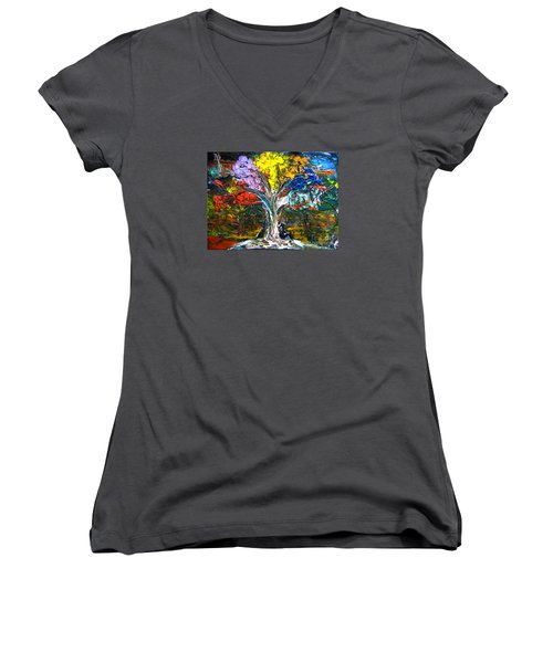 The World Moves For Love By Colleen Ranney Women's V-Neck