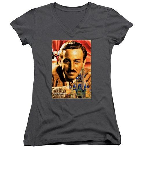 The World Of Walt Disney Women's V-Neck T-Shirt (Junior Cut) by Ted Azriel